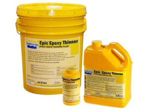 3 different sized bottles of epic epoxy thinner